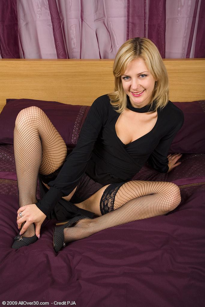 milf showing off black stockings